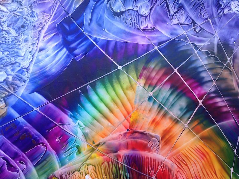 Duha za pavučinou - encaustic art, enakustický obraz