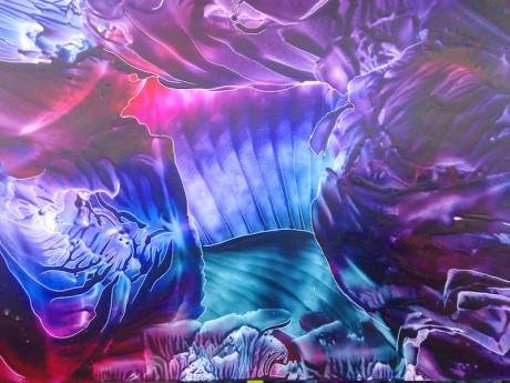 Hedvábné tóny – encaustic art, enkaustický obraz