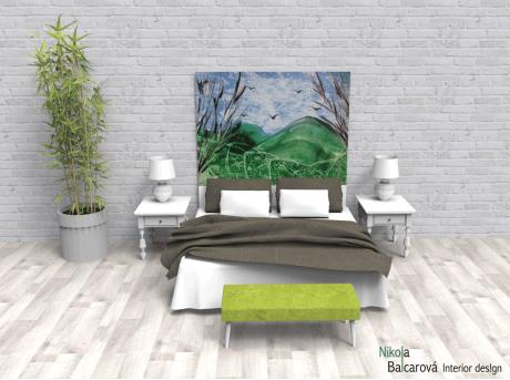 Líbezná krajina – encaustic art, enkaustický obraz