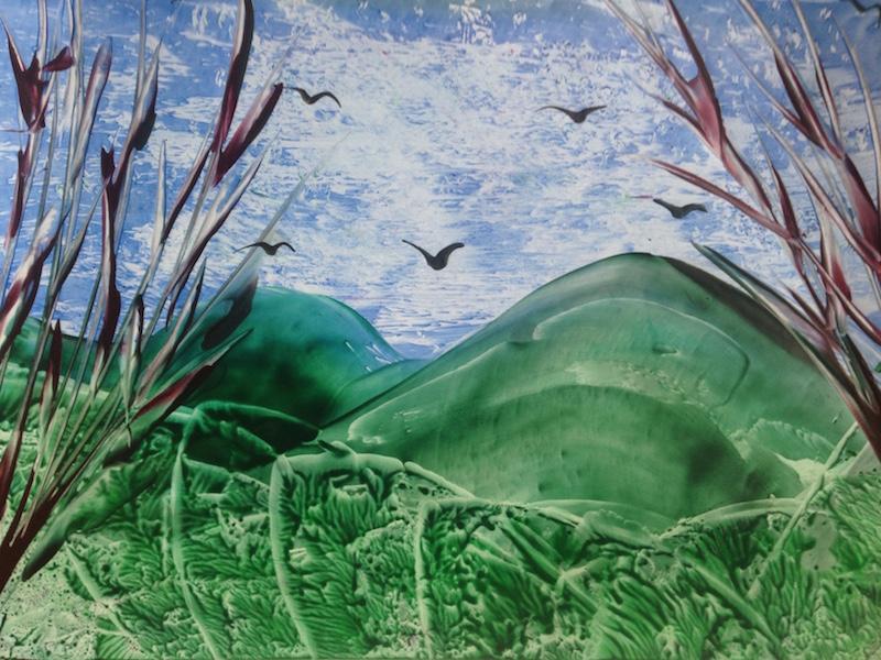 Líbezná krajina - encaustic art, enkaustický obraz