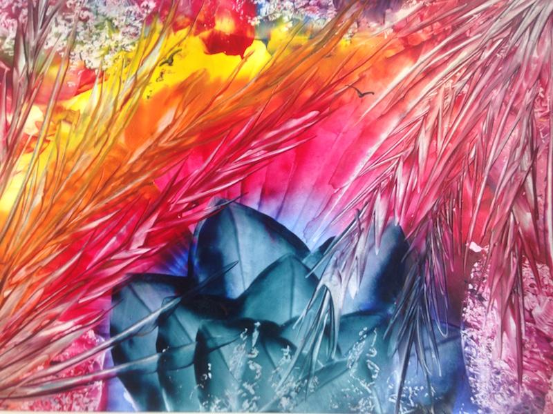 Ohnivá pláň - encaustic art, enkaustický obraz