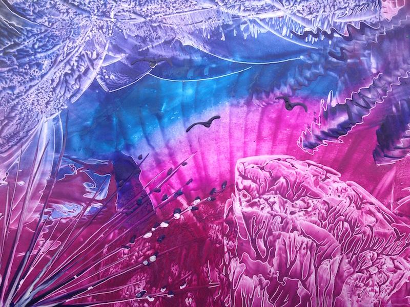 Ptačí sen - encaustic art, enkaustický obraz