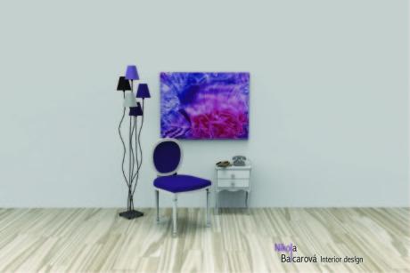 Purpurové linie – encaustic art, enkaustický obraz