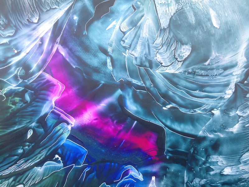 Srdce v popraskaném skle - encaustic art, enkaustický obraz