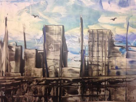 Velkoměsto – encaustic art, enkaustický obraz