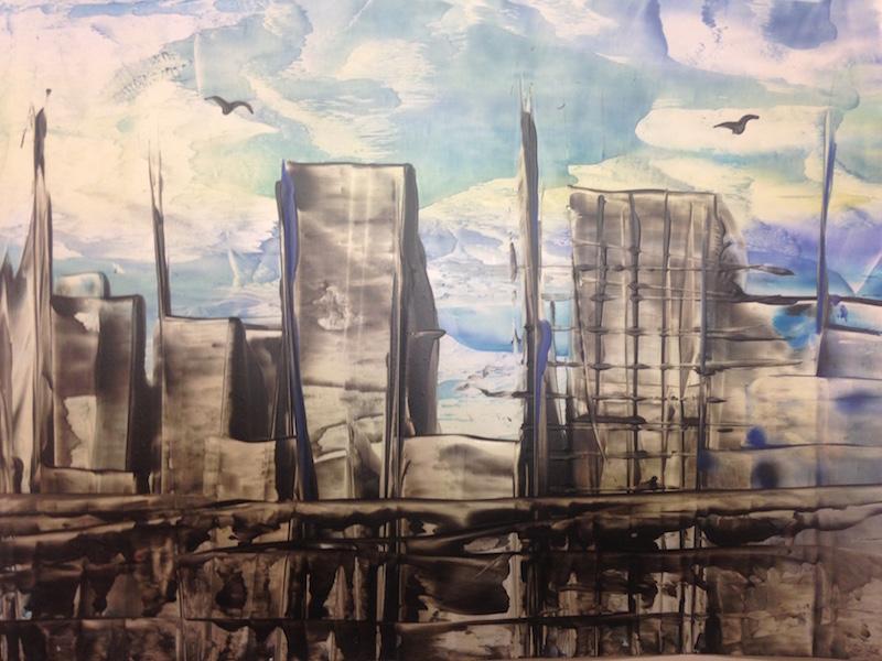 Velkoměsto - encaustic art, enkaustický obraz